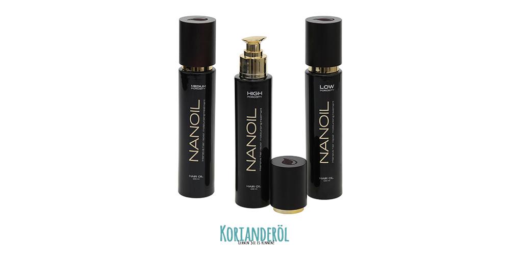 Haaröl Nanoil mit geringer normaler hoher porosität Haare